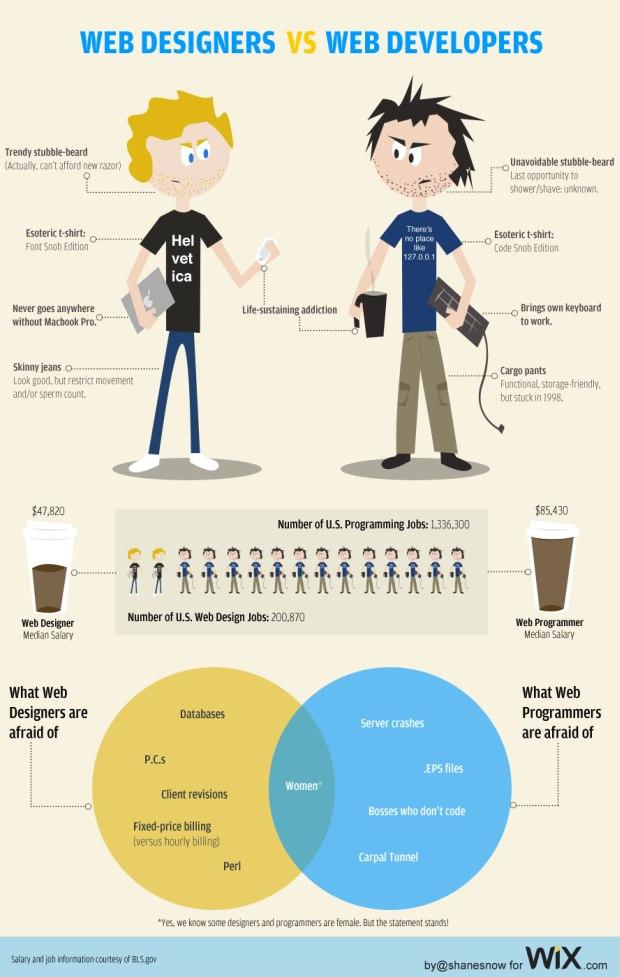 infographie web designer vs web dev