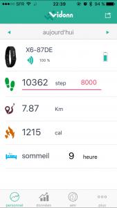 Test du bracelet connecté Vidonn X6