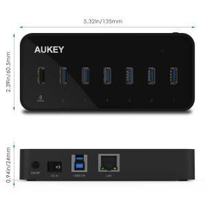 Test du HUB Aukey avec 5 ports USB 3.0 + Ethernet gigabit et 1 USB charge rapide